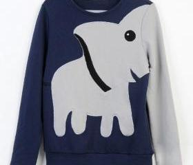 Elephant Casual Hoody Long-sleeved Bottoming Shirt