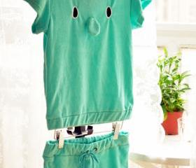 Elephant T-shirt and Shorts Two Piece Set