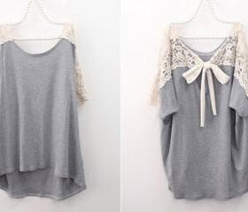 Cute Lace Back Short Sleeve Grey Loose T-shirt