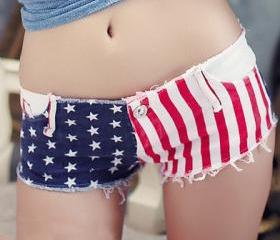 Star Stripe Denim Short
