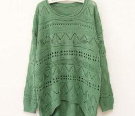Green Curved Hum Knit Holey Texture Sweater
