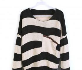 Black Stripe Bat Long Sleeve Sweater
