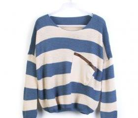 Blue Stripe Bat Long Sleeve Sweater