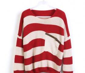 Red Stripe Bat Long Sleeve Sweater