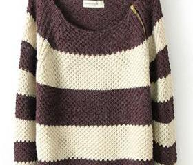Shoulder Zip Classic Color Matching Striped Long Sleeve Sweater