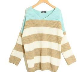 Stripe Matching Color Loose All-match Sweater