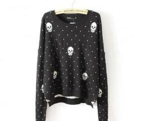Black Skull Polka Dot Jacquard Sweater
