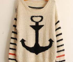 Black Pullover Navy Anchor Stripe Mohair Sweater