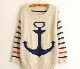 Blue Pullover Navy Anchor Stripe Mohair Sweater