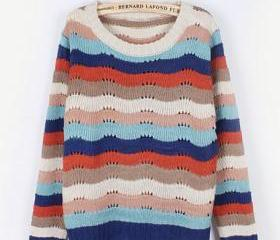 Colorful Wave Stripe Round Neck Long Sleeve Pullover Sweater