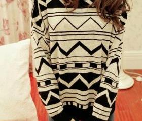 Jacquard Retro Irregular Geometric Figure Long Sleeve Sweater