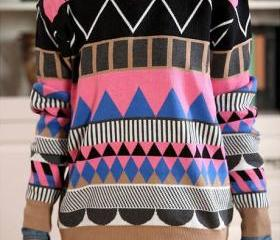 Ancient Folk Style Colorful Pop Rhombic Geometry Loose Sweater
