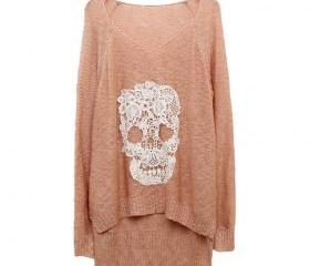 Baby Peach Lace Batwing Skull Motif Sweater