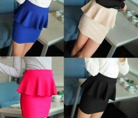 High Waisted Peplum Mini Tube Skirt