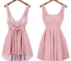 Pink Dot Backless Bowknot Dress