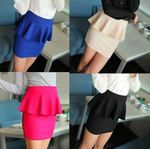 High Waisted Peplum Mini Tube Skirt on Luulla